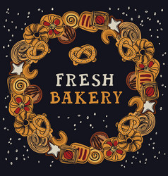 fresh bakery round frame dark background vector image
