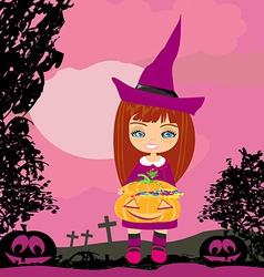 Girl in witch costume holding pumpkin with candy vector