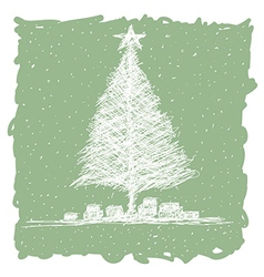 Hand drawn of christmas tree with snow flakes in vector