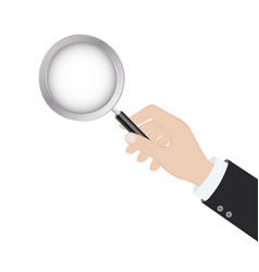 hand holding a magnifying glass in flat design on vector image