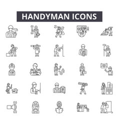 Handyman line icons for web and mobile design vector