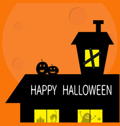 Happy halloween haunted house roof attic loft two vector