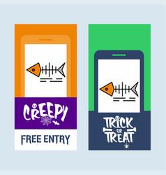 happy halloween invitation design with fish skull vector image