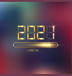 happy new year 2021 with loading icon in gold neon vector image