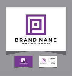 Initials p logo with a business card vector