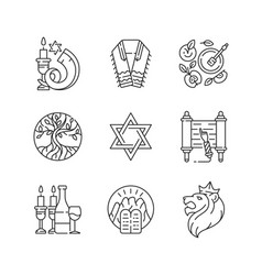 Judaism symbols linear icons set vector