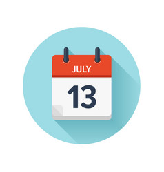 July 13 flat daily calendar icon date and vector