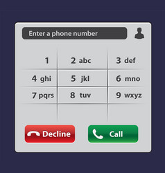 keypad with numbers and letters for phone user vector image