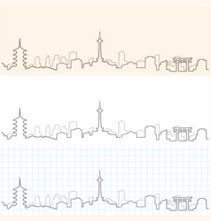 Kyoto hand drawn skyline vector
