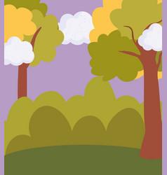 Landscape meadow bush trees sky scene vector