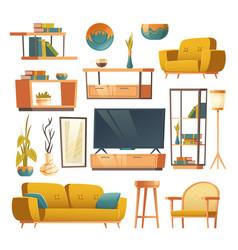 living room interior set furniture vector image