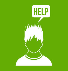 man needs help icon green vector image