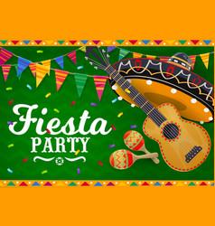mexican sombrero guitar and maracas banner vector image