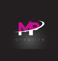 Mp m p creative letters design with white pink vector