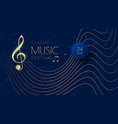 music festival background with notes treble clef vector image
