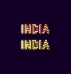 Neon name of india country vector
