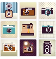 old vintage camera set vector image
