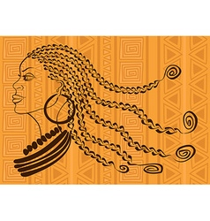 Outline portrait beautiful african tribal girl vector