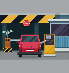 parking entrance with security barrier gate and vector image