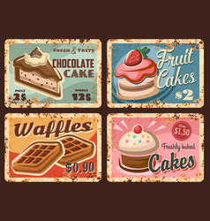 pastry confectionery sweets rusty plates set vector image