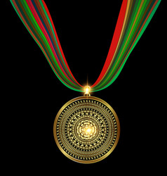 Pendant golden medal vector