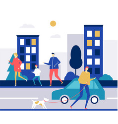 people running - flat design style colorful vector image