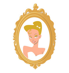 portrait of a cartoon blonde girl in a gold frame vector image