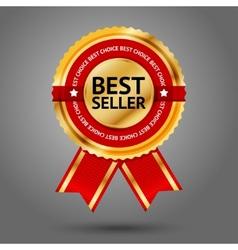 Premium golden and red best seller label vector