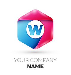 Realistic letter w in colorful hexagonal vector
