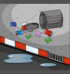 Road scene with dirty trash vector