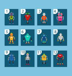 Robots and numbers game cards vector