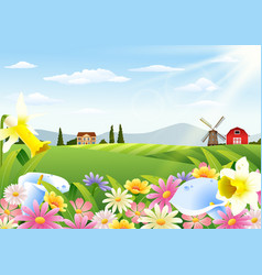 rural landscape with blooming flowers vector image