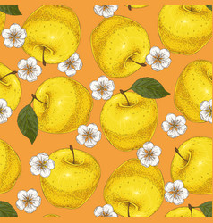 Seamless pattern with apples and flowers vector