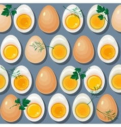 Seamless pattern with eggs yolks and parsley vector image