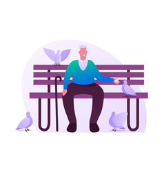 senior grey haired man sitting on bench in park or vector image