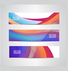Set abstract colorful wavy headers vector