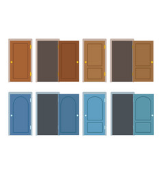set of doors in brown and blue color different vector image
