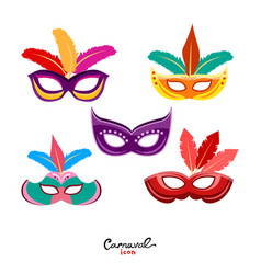 Set of masquerade colorful masks isolated on white vector
