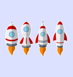 set of rocket stickers isolated on white backgroun vector image
