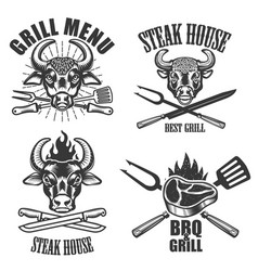 set of steak house labels and design elements vector image
