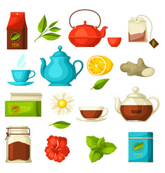 set of tea and accessories packs and kettles vector image
