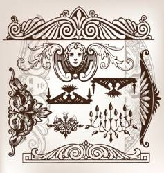 set of vintage frame traced vector image