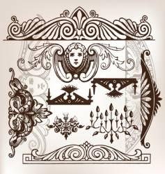 Set vintage frame traced vector