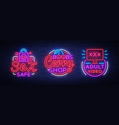 Sex shop neon signs collection industry vector