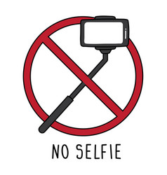 Sign warning about no selfie on white background vector