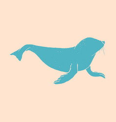 Silhouette of a sea lion icon on the white vector