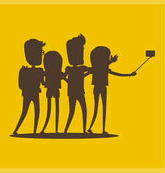Silhouettes of young modern people pose for selfie vector