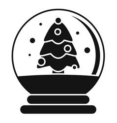 snow tree glass ball icon simple style vector image
