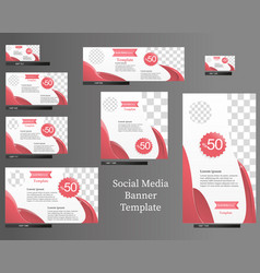 social media banner template set vector image