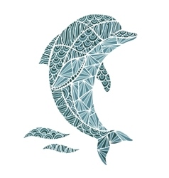 Stylized dolphin zentangle isolated on vector